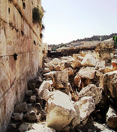 These stones still lay at the foot of the temple, where they were thrown down after the capture of Jerusalem in A.D.70.