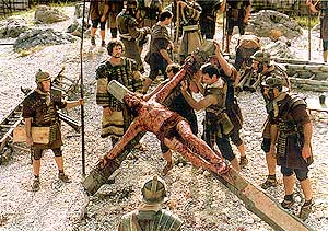 Scene from THE PASSION OF CHRIST. Crucifixion.